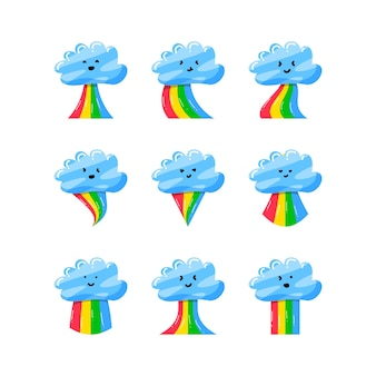 플랫 손으로 그린 스타일에 화려한 무지개와 귀여운 구름의 컬렉션 집합