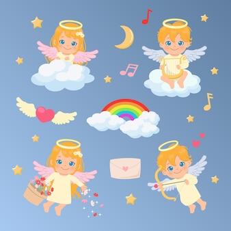 女性と男性の天使のコレクションセット。虹で飾られた雲の中でハープとキューピッドの弓で遊ぶ天使。バレンタインとクリスマスのクリップアート。