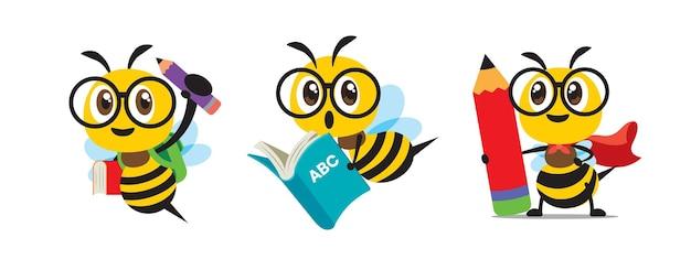 さまざまな文房具を持って学校に戻ってフラットなデザインのかわいい蜂のコレクションセット