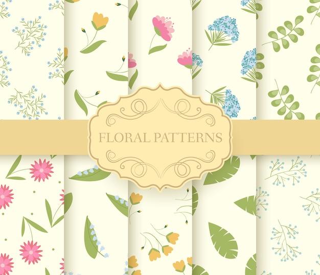 花柄のシームレスパターンのコレクションセット