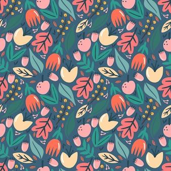 カラフルな葉の植物や花柄のコレクションセット