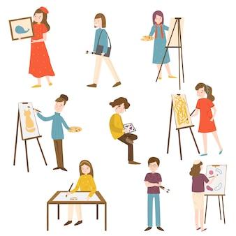 Набор коллекции художников мужчин и женщин разного возраста в разных позах действий. талантливые художники в концепции рабочего процесса.