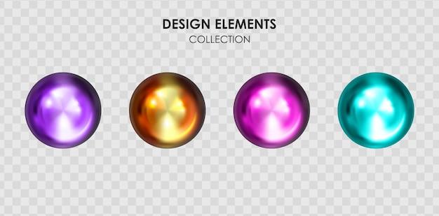 현실적인 3d 컬렉션 집합 금속 색 그라데이션 기하학적 모양 렌더링
