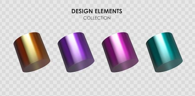 Набор реалистичных 3d-рендеров с металлическим цветным градиентом геометрических фигур
