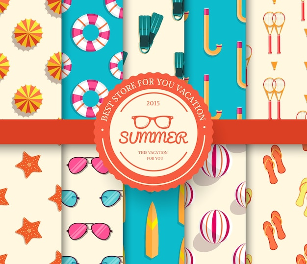 夏休みシームレスパターンのコレクションセット