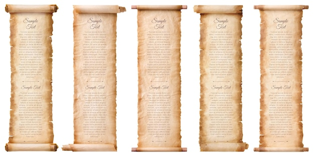 Collection set old parchment paper scroll sheet vintage aged or texture isolated on white background.