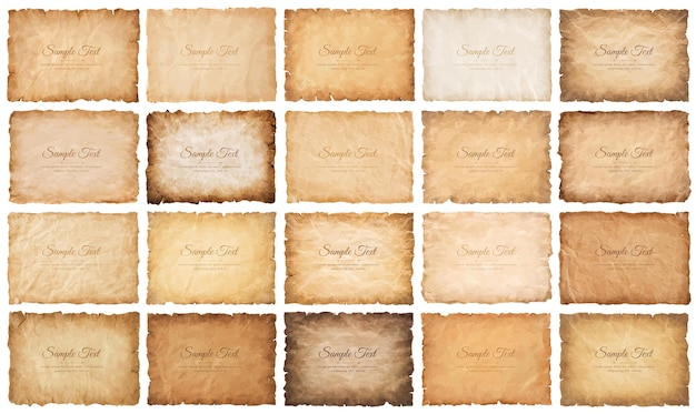 Collection set old parchment paper sheet vintage aged or texture isolated