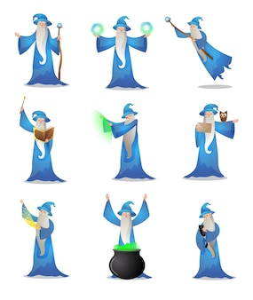 Collection set of old wizard making magic in mantle and hat with the wand, pot , and book on white background. male witchcraft, medieval sorcerer merlin practicing.