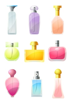 Collection set of perfumed bottles, perfume, cologne, toilet water. perfume glass bottles in various shapes with caps concept.