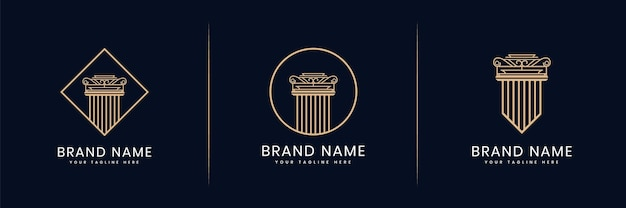 Collection or set of pillars of justice logo for attorney law legal firm lawyers building architect