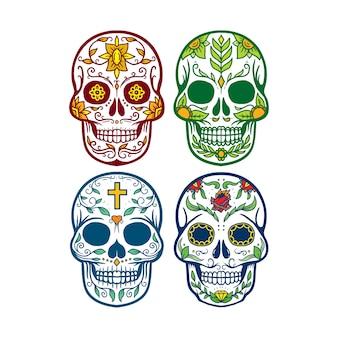 Collection set of skull dia de los muertos