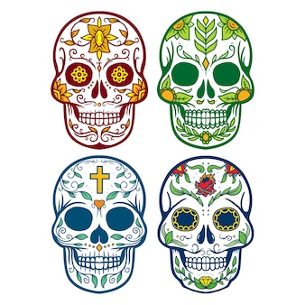 Collection set of skull muertos