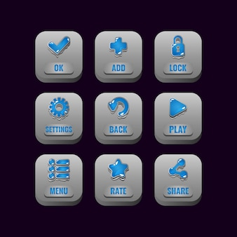 Collection set of square stone buttons with jelly icons for game ui asset elements