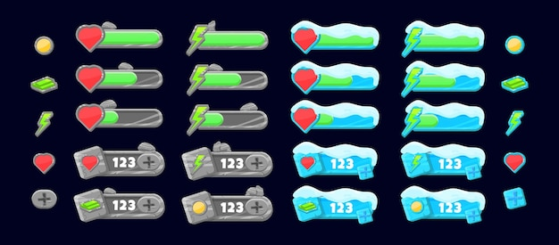 Collection set of stone and snow ice additional panel and progress indicator bar