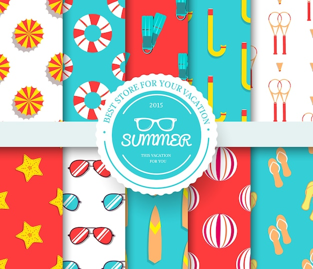 Collection set of summer vacation seamless pattern