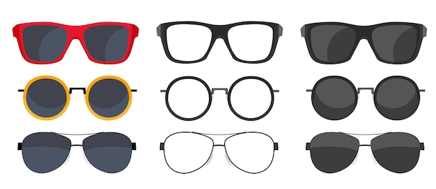 Collection set of sun glasses icons