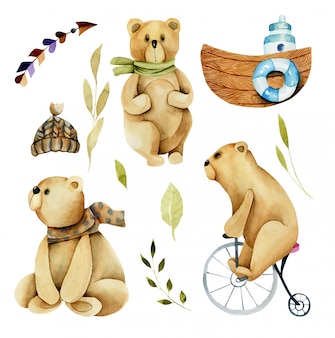 Collection, set of watercolor cute bears and thematic elements, hand drawn isolated