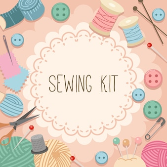 The collection of sewing kit set in pink background.