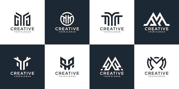 Collection, the shape of the letter w monogram logo design template