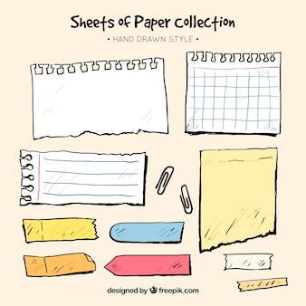 Collection of sheets and hand drawn sticky notes