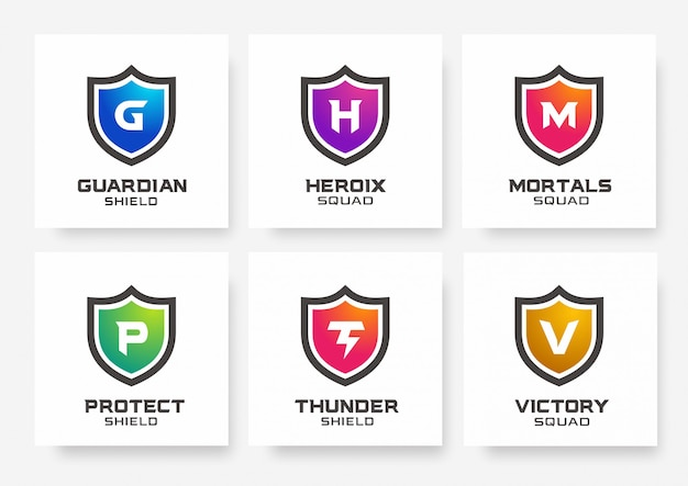 Collection of shield gaming logo templates