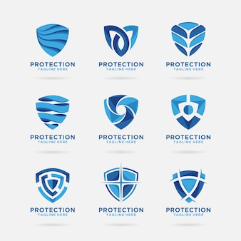 Collection of shield logo with abstract design