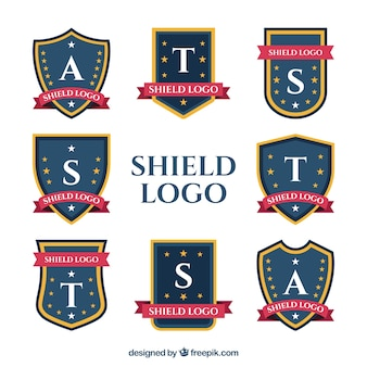Collection of shield logos with capital letters