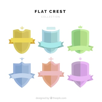 Collection of shields in flat style