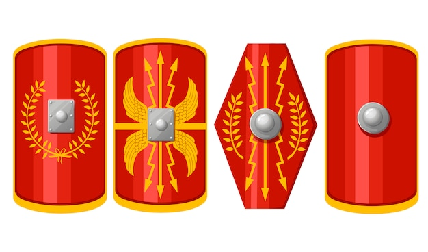 Collection of shields. shields of roman legionary. red scutum with yellow decoration pattern. outfit of the ancient legionary.   illustration  on white background