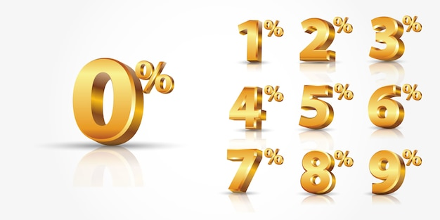 Collection of  shiny gold discount numbers percent off isolated on white background with reflection, or promotion discount sale advertising