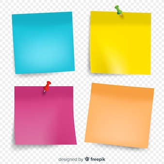 Collection of shiny sticky notes in realistic style