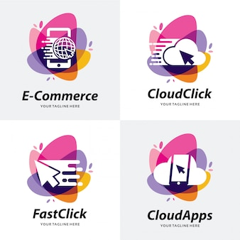 Collection of shop apps logo template design