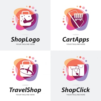 Collection of shop logo template design