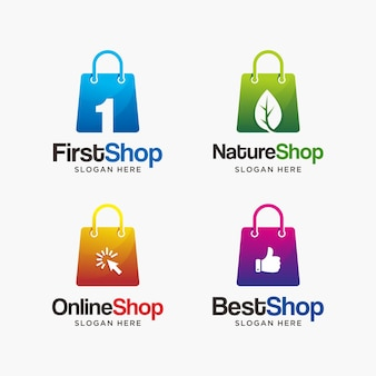 Collection of shopping logo design template. modern and creative shopping logo.