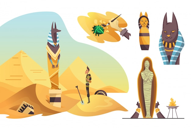 Collection of signs egyptian archaeology. various cultural symbols of egyptian architecture and culture symbols
