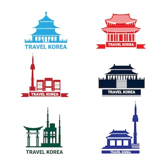 Collection of silhouette seoul landmarks south korean palace and temple
