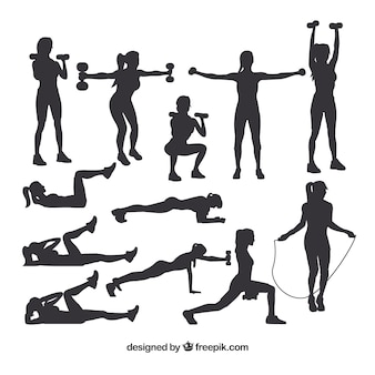 Collection of silhouettes doing sport