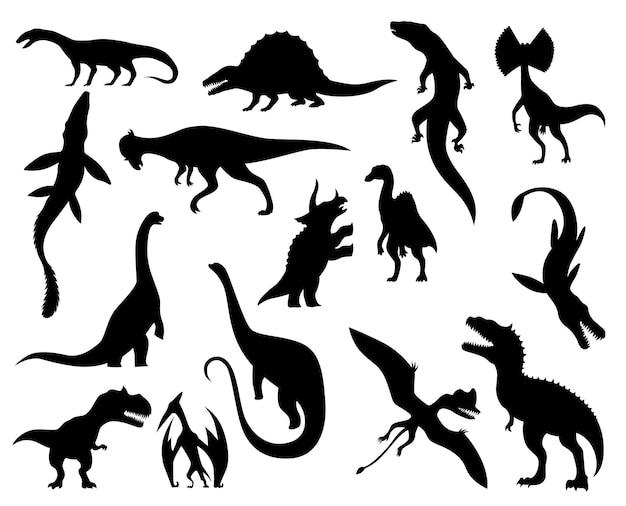恐竜のコレクションシルエット。恐竜のモンスターのアイコン。先史時代の爬虫類モンスター。白で隔離のベクトル図です。スケッチセット。手描きの恐竜の骨格