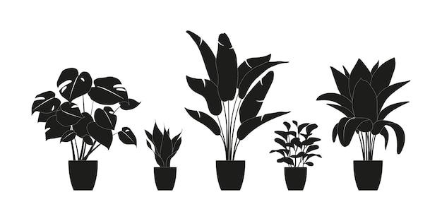 黒い色の観葉植物のコレクションのシルエット。白で隔離される鉢植えの植物。緑の熱帯植物を設定します。屋内植物、プランター、熱帯の葉でトレンディな家の装飾。