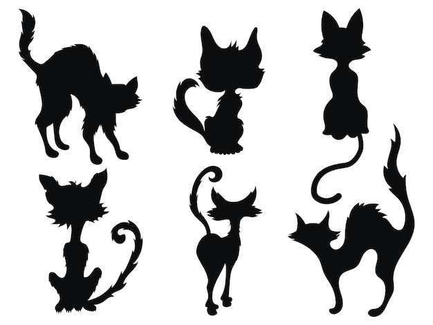Collection of silhouettes of pets.