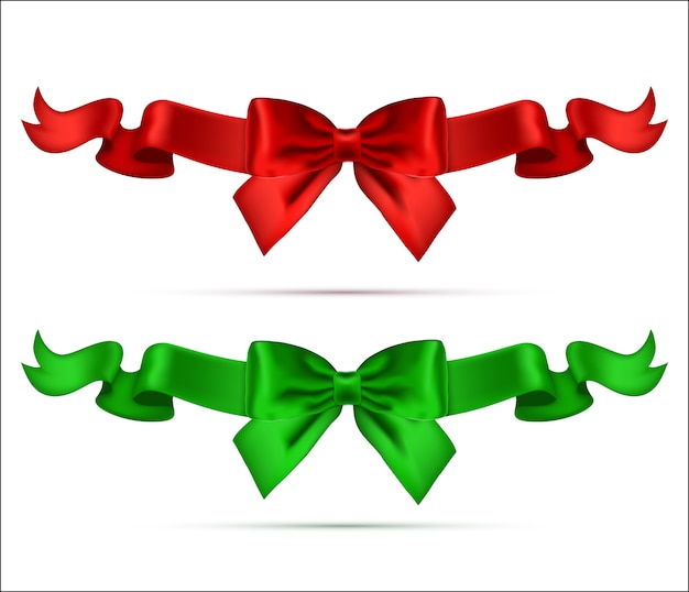 Collection of silk realistic bows with ribbons.