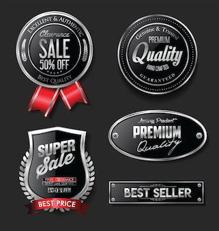 Collection of silver and black badges and labels