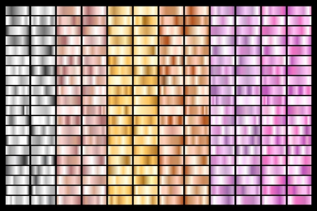 Collection of silver, chrome, gold, rose gold. bronze metallic and ultraviolet gradient.