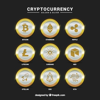 Collection of silver cryptocurrency coins
