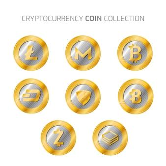 Collezione di monete d'argento e criptovaluta d'oro