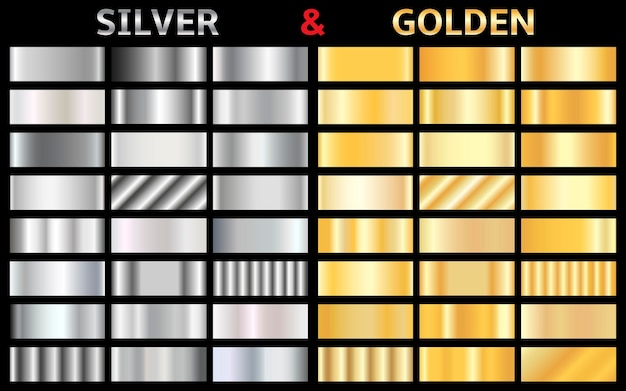 Collection of silver and golden gradients