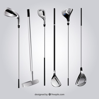 Collection of silver golf clubs
