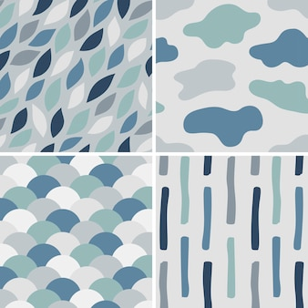 Collection of simple pattern vectors illustration
