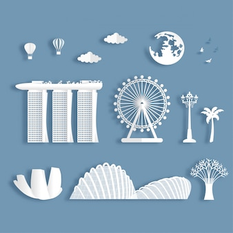 Collection of singapore famous landmarks
