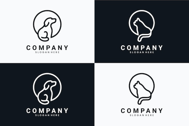 Collection of sitting dog and cat , logo design inspiration